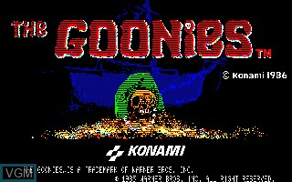 Title screen of the game Goonies, The on Sharp X1