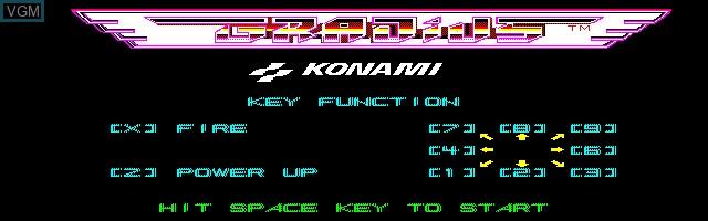Title screen of the game Gradius on Sharp X1