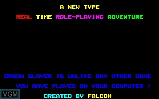 Title screen of the game Dragon Slayer on Sharp X1