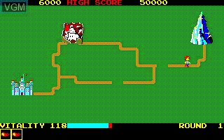 Menu screen of the game Dragon Buster on Sharp X1