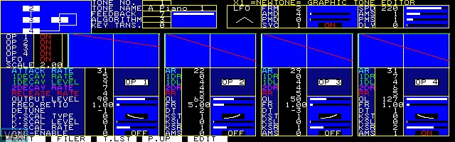 Menu screen of the game Visual Instrument Player on Sharp X1