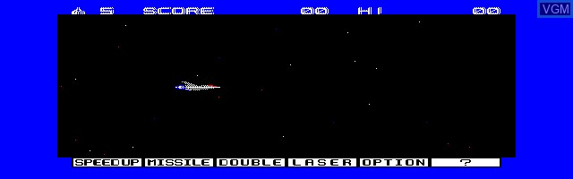 Menu screen of the game Gradius on Sharp X1
