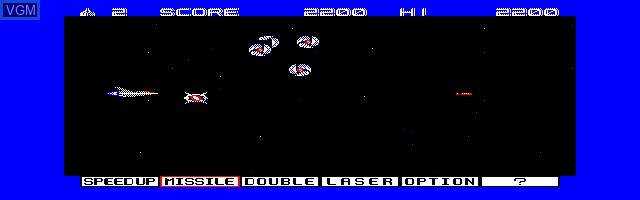 In-game screen of the game Gradius on Sharp X1