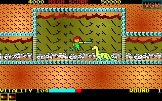 In-game screen of the game Dragon Buster on Sharp X1