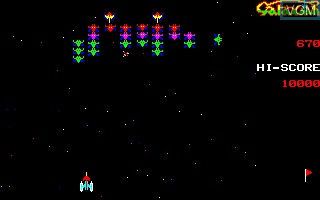 In-game screen of the game Galaxian on Sharp X1