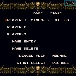 Menu screen of the game Akumajou Dracula on Sharp X68000