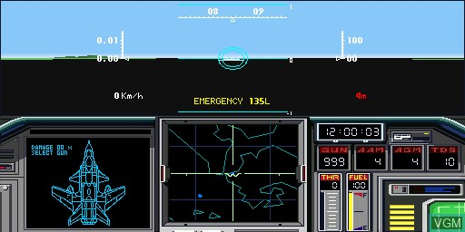 In-game screen of the game Air Combat II on Sharp X68000