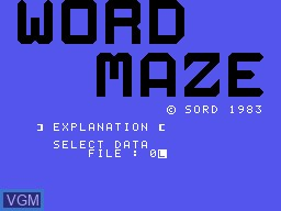 Title screen of the game Word Maze on Sord-M5