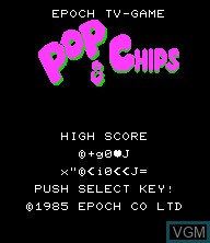Title screen of the game Pop & Chips on Epoch S. Cassette Vision