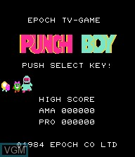 Title screen of the game Punch Boy on Epoch S. Cassette Vision