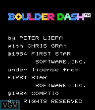 Title screen of the game Boulder Dash on Epoch S. Cassette Vision