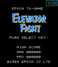 Title screen of the game Elevator Fight on Epoch S. Cassette Vision