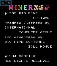 Title screen of the game Miner 2049er on Epoch S. Cassette Vision