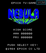Title screen of the game Nebula on Epoch S. Cassette Vision