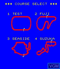 Menu screen of the game Pole Position II on Epoch S. Cassette Vision