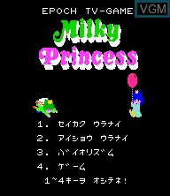 Menu screen of the game Milky Princess on Epoch S. Cassette Vision