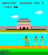 In-game screen of the game Nekketsu Kung Fu Road on Epoch S. Cassette Vision