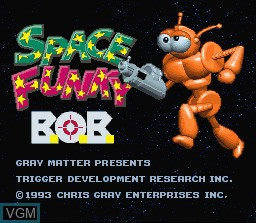 Title screen of the game Space Funky B.O.B. on Nintendo Super NES
