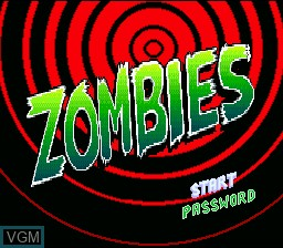 Title screen of the game Zombies on Nintendo Super NES