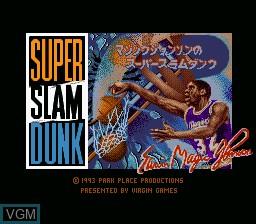 Title screen of the game Magic Johnson no Super Slam Dunk on Nintendo Super NES