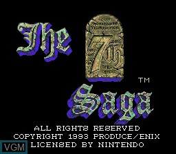 Title screen of the game 7th Saga, The on Nintendo Super NES