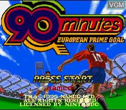 Title screen of the game 90 Minutes - European Prime Goal on Nintendo Super NES