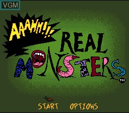 Title screen of the game AAAHH!!! Real Monsters on Nintendo Super NES
