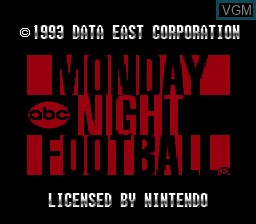 Title screen of the game ABC Monday Night Football on Nintendo Super NES