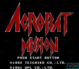 Title screen of the game Acrobat Mission on Nintendo Super NES