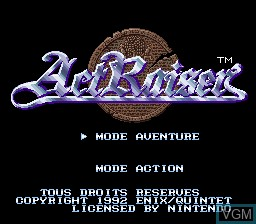 Title screen of the game ActRaiser on Nintendo Super NES