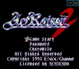 Title screen of the game ActRaiser 2 on Nintendo Super NES
