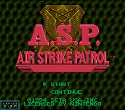 Title screen of the game A.S.P. Air Strike Patrol on Nintendo Super NES