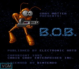 Title screen of the game B.O.B. on Nintendo Super NES