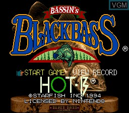 Title screen of the game Bassin's Black Bass on Nintendo Super NES