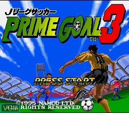 Title screen of the game J.League Soccer Prime Goal 3 on Nintendo Super NES