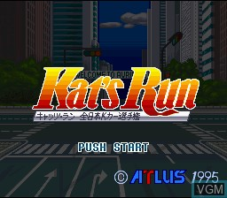 Title screen of the game Kat's Run - Zennihon K Car Senshuken on Nintendo Super NES