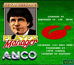 Title screen of the game Kevin Keegan's Player Manager on Nintendo Super NES