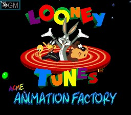 Title screen of the game ACME Animation Factory on Nintendo Super NES