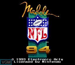 Title screen of the game Madden NFL '94 on Nintendo Super NES