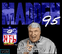 Title screen of the game Madden NFL '95 on Nintendo Super NES