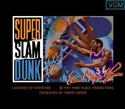 Title screen of the game Magic Johnson's Super Slam Dunk on Nintendo Super NES