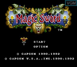 Title screen of the game Magic Sword on Nintendo Super NES
