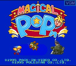 Title screen of the game Magical Pop'n on Nintendo Super NES