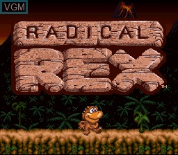 Title screen of the game Radical Rex on Nintendo Super NES