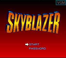 Title screen of the game Sky Blazer on Nintendo Super NES