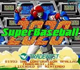 Title screen of the game 2020 Super Baseball on Nintendo Super NES