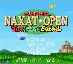Title screen of the game Super Naxat Open - Golf de Shoubu da! Dorabocchan on Nintendo Super NES