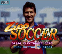 Title screen of the game Zico Soccer on Nintendo Super NES