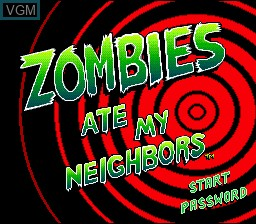 Title screen of the game Zombies Ate My Neighbors on Nintendo Super NES