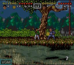 Menu screen of the game 3 Ninjas Kick Back on Nintendo Super NES
